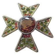 Spectacular Rhinestone Maltese Cross Pin Brooch BSK