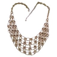 10 - Stylish Bib Necklace - Brushed Goldtone