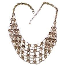10 - Stylish Bib Necklace - Brushed Goldtone