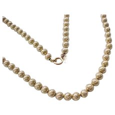 10 - Lovely Trifari Goldtone Necklace, Textured Beads