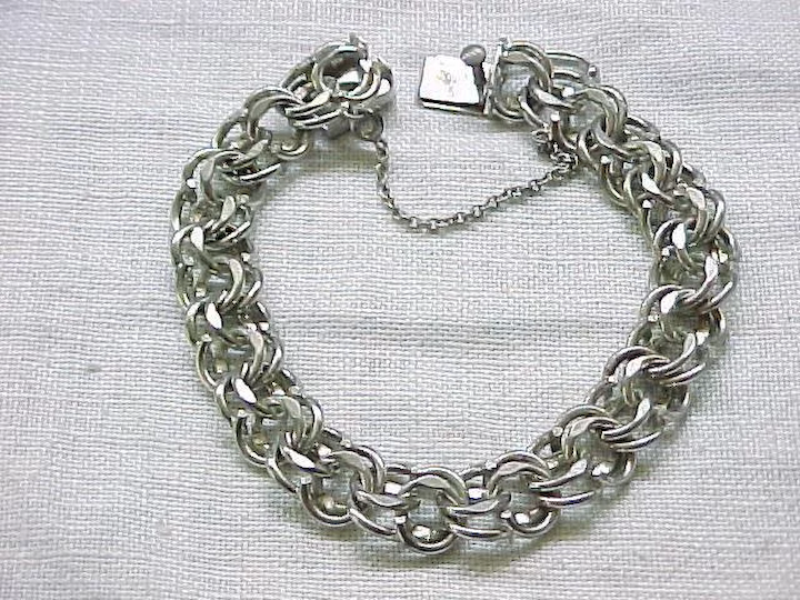 Wells Sterling silver double round cable link multi animal charm bracelet