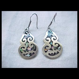 Exceptional Sterling and Abalone Earrings - Pierced