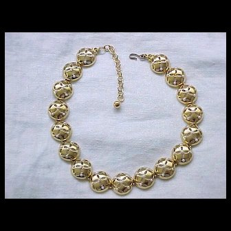 Chunky Domed Shaped Goldtone Necklace Tiny Faux Pearls - Monet