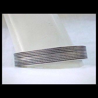 Sterling Silver Cuff Style Bracelet - Ridged Design