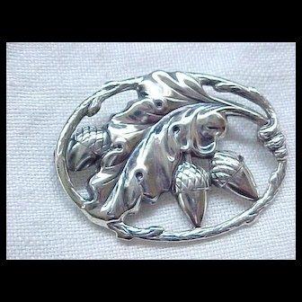 Iconic Danecraft Sterling Silver Acorn Pin