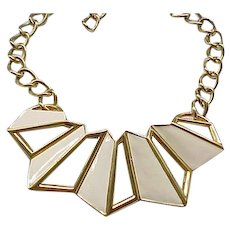 Geometrical Monet Enamel Necklace - Cream Enamel