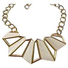 Geometrical Monet Enamel Necklace - Cream Enamel
