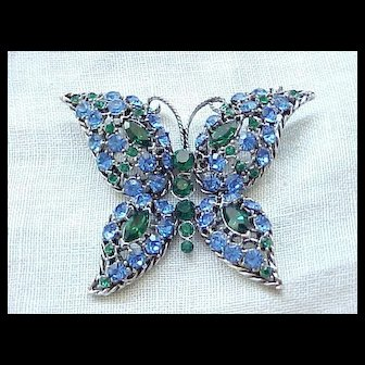 Stunning Large Blue and Green Rhinestone Butterfly Pin