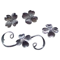 3 Pieces Nye Sterling Dogwood