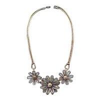 Exquisite Trifari Poured Glass Flower Necklace
