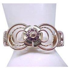 Lustern Gold Filled Sweetheart Expansion Bracelet - Purple Rhinestones