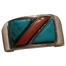 Native  American Coral, Turquoise Ring Size 9