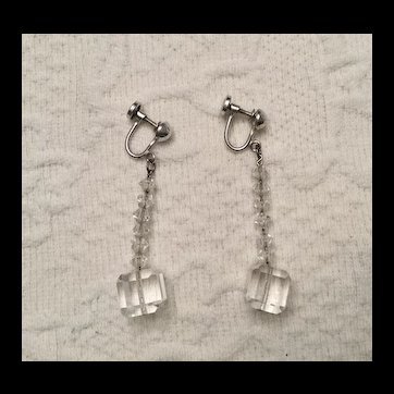 Rock Crystal Dangle Earrings - Sterling - Art Deco
