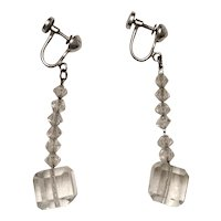 Rock Crystal Dangle Earrings - Sterling - Art Deco