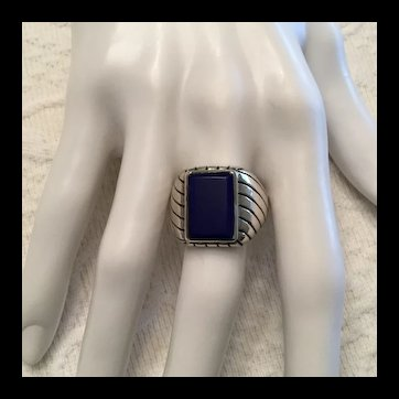 Men's Sterling and Lapis Ring Size 12
