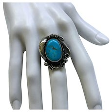 Native American Sterling Turquoise Ring - 6 1/4