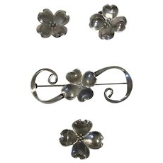 Nye Dogwood Sterling Pins and Earrings