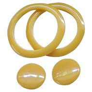 03 - 2 Bakelite Bangles with Large Matching Ear Clips - Light Butterscotch