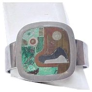 Incredible Sterling and Mixed Metal Bracelet, Earrings - Los Castillo - Picasso-esque