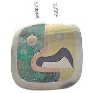 Los Castillo Sterling and Mixed Metal Pin/Pendant and Chain