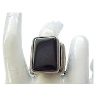 01 - Super Chunky Sterling and Onyx Ring - size 8 1/4