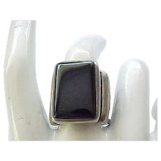 Super Chunky Sterling and Onyx Ring - size 8 1/4