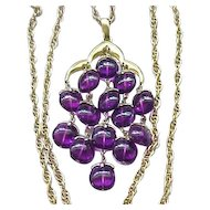 HTF  Iconic Trifari Waterfall Necklace - Purple with Goldtone