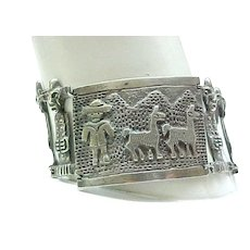 Unusual 900 Silver Bracelet Peru Incan Images