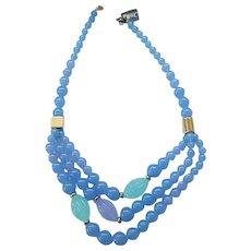 Pretty Trifari Necklace Blue, Purple, Aqua - 3 Strands Beads