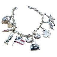 Sterling Silver Charm Bracelet - 11 Charms