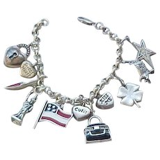 Sterling Silver Charm Bracelet - 11 Charms