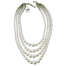 Elegant 4 Strand Faux Pearl Necklace, Original Tag