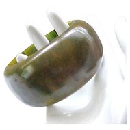 Huge Bakelite Bangle - Marbled Green, Butterscotch