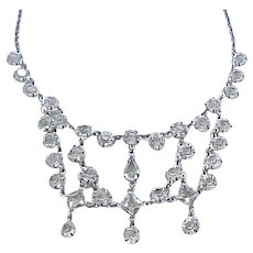12 - Dainty Festoon Necklace Unfoiled Open Backed Crystals with Earrings