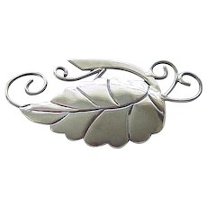 Spectacular Taxco Sterling Silver Leaf Pin