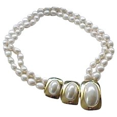 Glamorous Kunio Matsumoto Faux Pearl Necklace - Large Centerpiece