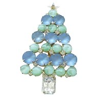 Pretty Christmas Tree Pin - Frosted Blue, Green Art Glass