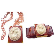 Huge Bakelite, Celluloid Cameo Necklace and Bracelet