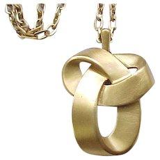Trifari Brushed Goldtone Knot Pendant Necklace