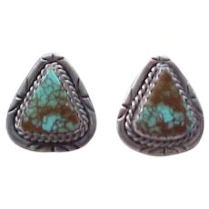 Highly Figured Turquoise and Sterling Clip Earrings