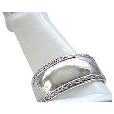 Wide Sterling Cuff Bracelet - Braided Rope Detail