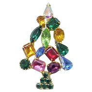 Colorful Rhinestone Christmas Tree Pin