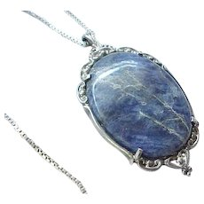 Beautiful Lapis and Sterling Pendant, Box Chain