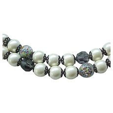 Stunning Necklace Faux Pearl, Venetian Beads, Crystal Beads - Must See