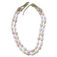 09 - Double Strand Pastel Necklace - Yellow, Pink, Peach