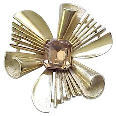10 - Classic Trifari Pin with Amber Rhinestone Center
