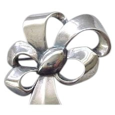 Marvelous Monet Sterling Silver Bow Pin