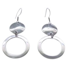 12 - Double Circle Sterling Earrings - Pierced Ears