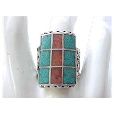 Huge Native American Sterling and Turquoise Ring with Coral - Size 9