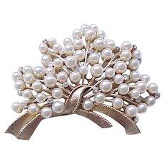 Magnificent Trifari Faux Pearl, Rhinestone Brooch Pin